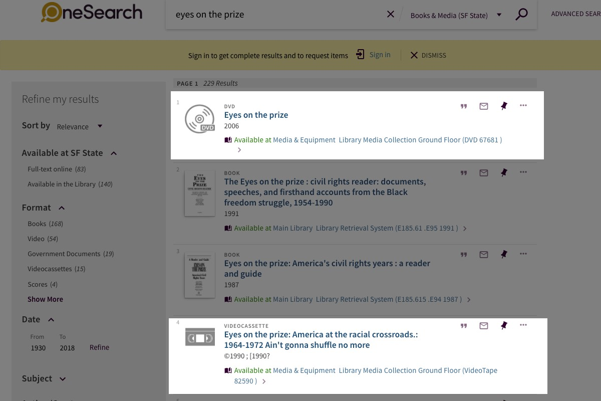 library books and media search results